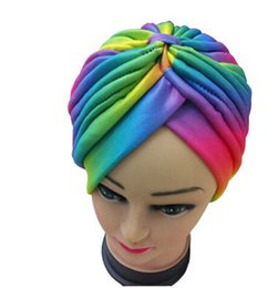 Wholesale Indian Hat Bands - Women cap rainbow colorful Indian Stretchable Turban Head Wrap Band Hat headband Cap Chemo Bandana T-15