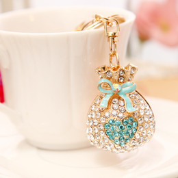 Wholesale Coined 18k Gold Plated Jewelry - Love purse jewelry rhinestones crystal keychain alloy key chain car key ring pendant creative Korea style DIY handmade