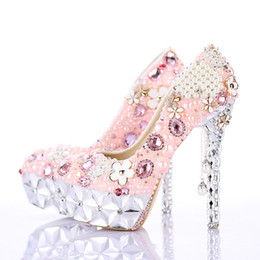 Wholesale High Heels Platform Flower - 2016 Rhinestone Pink Flower Bridal Dress Shoes Gorgeous Crystal Heel Platforms Wedding Ceremony Party Shoes Luxury Prom Pumps