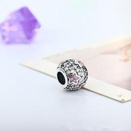 Wholesale Diy Glass Bangles - 925 Silver European Charms Bead DIY Midnight Pink Shining Round Zircon Fit Pandora Snake Chain Bracelets Bangles DIY Jewelry