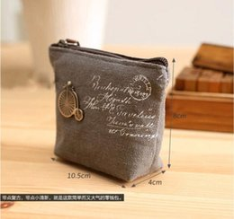 Wholesale Embroider Keychain - New Fashion Women's Canvas Bag Coin Purse Coin Pocket Cosmetic Makeup Bag Keychain Key Holder