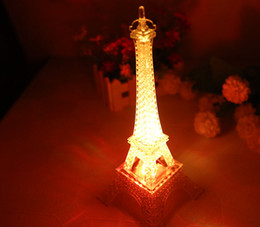 Wholesale Retail Christmas Decorations - Wholesale-retail 2015 Eiffel Tower led night lights+3 superbright LEDs+beautiful(five colors changing) for romantic lovers home decoration