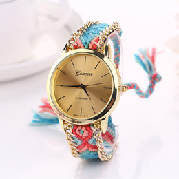 Wholesale Stainless Steel Braided Watches - 2015 New Arrival GENEVA Handmade knitting thread Rope Bracelet Watches Women Braided Colorful Quartz Casual Wristwatch