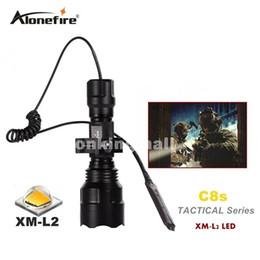 Wholesale Switch Flashlight C8 - C8 Tactical Gun Flashlight Torch 2200LM CREE XM-L2 LED 5 Modes LED Flash Light Lanterna+gun scope bases Mount+remote switch