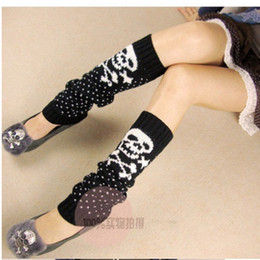 Wholesale Skull Knee Boots - Wholesale-Girl high quality personality skull Korean warm knitted leg warmers but the knee boot socks women boot cuffs magic socks