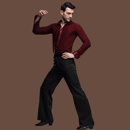 Wholesale Stylish Costumes Men - Gentleman's Stylish Slims Latin Dance Apparel Long Sleeves Shirts Stripes Pants Dancing Suits Ballroom Costumes tl802