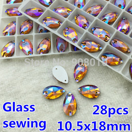 Wholesale Topaz Sew Rhinestones - Wholesale-28pcs 10.5x18mm Teardrop Sew On rhinestone Smoked Topaz AB Color 18x11 Pear Shape Sewing Glass Crystal Stones 2Holes