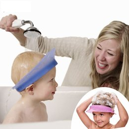 Wholesale Children Silicone Hats - Kair smart silicone air cushioned adjustable baby waterproof shampoo cap child shower hat kids bath visor with weather strip