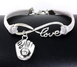 bracelet accessories love Coupons - 10pcs Vintage Silver Love Infinity Baseball glove Charms Bracelet Bangle For Women Mixed Color Velvet Rope Bracelet Jewelry Gift Accessories