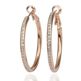 Wholesale Earrings Hoop 18kgp - 18KGP E085 18K Gold Plated Hoop Earrings Fashion Jewelry Nickel Free Rhinestone Made with Austrian Element Crystal