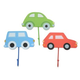Wholesale Wood Door Decorations - Lovely painted car door hangers creative wooden cloth hanging hook cartoon cute room decoration 3 colors,free shipping