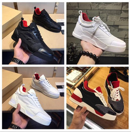 Wholesale Designer Bottoms - Popular Designer Red Bottom Man Sneakers High Quality Fashion Rivets Patchwork Mixed Colors Lace Up Casual Shoe Man Party Size 38-46