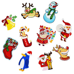 Wholesale Christmas Iron Transfers - 10PCS set Christmas Embroidered Patches for Clothing Iron on Transfer Applique Patch for Sweater Bags DIY Sew on Embroidery Sticker
