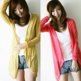 Wholesale Red Sheer Blouse - shirt Women Summer Fashion Sun Protection Long Sleeve Anti-UV Blouse Casual Sunscreen Cotton Blend Top Women Cardigan Free Shipping dr050
