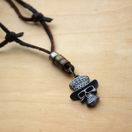 Wholesale Cow Skull Jewelry - Adjustable Delicate Skull Jewelry Necklace Cow Genuine Leather Men Necklace Punk Retro Two Colors Leaf Pendants Necklace Long Chain 16501