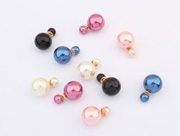 Wholesale Crystal Bead Dangle - Celebrity Runway Double Pearl Earrings Clay Crystal Bead Vintage Multiple Colors Anti-allergic Earrings For Women Dance Party Accessories