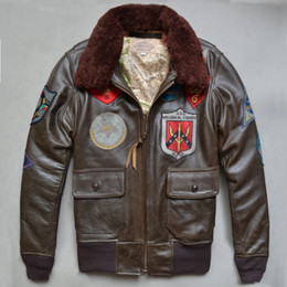 Wholesale Genuine Leather Jacket Men Brown - Top quality AVIREX JACKET US Air Force pilot men's genuine leather jacket multi-standard G1 man leather flight suit