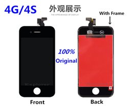Wholesale Display Touch Screen Iphone4 - Test Passed For iPhone 4 4G 4S LCD touch screen comletely Display Digitizer Frame Full Set Assembly For iPhone4 4G 4S Free Shipping
