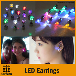 Wholesale Earring Accessories For Men - Colorful LED Earrings Light Up Blinking Copper Crown Shaped Shiny Studs Party Accessories for Xmas New Year Men Women 1 Pair