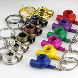 Wholesale Turbocharger Ring - Turbo Keychain Spinning Turbo Turbine Turbocharger Keychain Key Chain Ring Keyring Keyfob Keyrings 17 color available free shipping