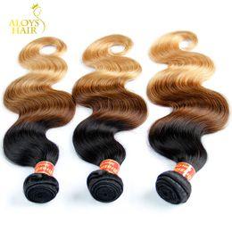 коричневые камбоджийские волосы переплетаются Скидка Ombre человеческих волос бразильский волна девственные волосы плетение пучки три тона 1b/4 / 27# класс 8A Ombre Remy бразильский человеческих волос 3 шт.
