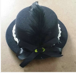 Wholesale Coral Wedding Hats - top!!! 2color black blue feather bow new arrival M124 hat Han kids children 17 cm hairpin hairpin accessories hat wedding photography props