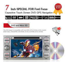 Wholesale Dvd For Ford Focus - Silver 7inch 2Din Android 4.4.4 Car DVD Player For Ford Transit Galaxy Focus Mondeo Fiesta C-max S-max Kuga Connector Free 8GB Card CDVD0019