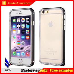 Wholesale iphone aluminium metal bumper - 2 in1 Aluminium bumper case with transparent Soft tpu case for Iphone 6 6+ Plus