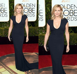Wholesale Globe Making - Veronica Ferres 73rd Golden Globe Award Short Sleeves Formal Celebrity Evening Dresses Black Mermaid Sexy Evening Gowns Custom Made