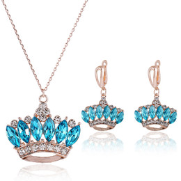 Wholesale Korean Necklaces Mixed Style - Noblest Charming Sapphire Wedding Jewelry Sets Luxury Bridesmaid Jewelry Sets Queen -like Bridal Jewelry Sets Korean Style