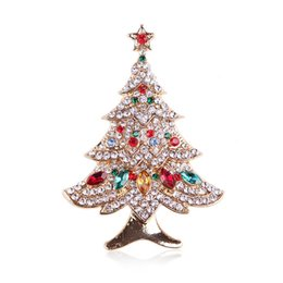 Wholesale Green Plant Costumes - 2017 New Fashion High Quality Christmas Tree Gift Brooch Crystal Rhinestone Jewellery Fashion Costume Pin Brooch Fashion Accessories