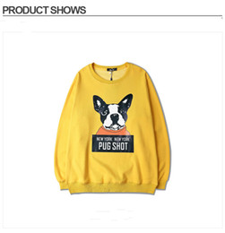 Wholesale Chic Dog Clothes - Hip Hop Pullovers Fleece Warm Clothing Yellow Pink Cp Sweatshirts Chic Slogan Pug Shot New York Dog Print Hoodie Asia Size