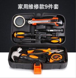 Wholesale Electrical Tools Sets - DHL Hardware toolbox 9 sets of manual tools kit for electric carpenter maintenance Hammer Screwdriver 3M Tape Test electricity pencil