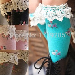 Wholesale Leggings Tights Tube - Wholesale-Free shipping 2 pairs Tall floral cotton lace in medium and small tube socks Princess Children