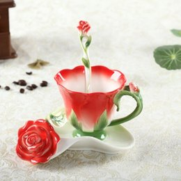 Wholesale Chinese Porcelain Mug - 2016 Rose Flower Coffee mug Chinese Ceramic Tea And Coffee Cups Set 1pc Bone Mug With 1pc Saucer And 1pc Spoon Lovely Gift