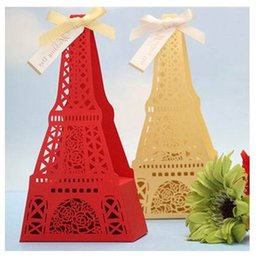 Wholesale Eiffel Tower Favor Boxes - 300pcs Creative Hollow Eiffel Tower Wedding Candy Box Wedding Favor Boxes Gift Box Candy Box Part Decoraton 1203#03