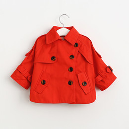 Wholesale Short Cardigan Buttons - Christmas Babies Casual Trench coats 2018 Autumn Kids Girls Fashion Cotton Outwear Baby Girls button Short cardigan kids clothing