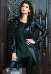 Wholesale Trench Coats For Cheap - Wholesale-New Arrival S L XL Long Sleeve Fashion Black Leather Womens Long Trench Coat for Winter LC85004 Cheap Price Free Drop Shipping