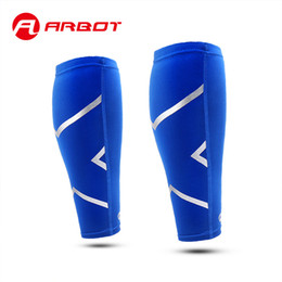 Wholesale Football Gear Men - Wholesale- ARBOT Stretch Breathable Leg Sleeve Shin Guards Basketball Football Running Cycling Compession Socks Calf Support Sports Gear