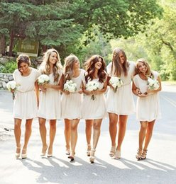 Wholesale Wedding Charms For Cheap - 2015 Simple Charming Short Ivory Bridesmaid Dress with Short Sleeve Short Mini Cheap Prom Dress Summer Wedding Guest Gowns Dress for Party