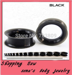 Wholesale Flesh Silicone Plugs - Body jewelry Free Shipping Wholesales 192pcs lot Mix 4-25mm black double flare Ear Piercing Plug Silicone Flesh Tunnel