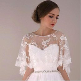 Wholesale Cheap Ivory Lace Shawl - 2016 Cheap Arabic Jewelry Cape With Beaded Crystal Bridal Accessories Wedding Dresses Wraps Shawls Bolero Shrug CPA373