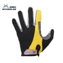 Wholesale Mysenlan Cycling - Wholesale-2015 MYSENLAN cycling gloves Outdoor full finger Bicycle gloves Three colors Anti-sweat Mesh fabric MTB riding gloves man M L XL