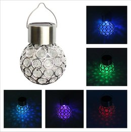 Wholesale Easter Solar - Fashion Solar Powered Hanging Lights Ball Shape Outdoor Solar Lamp Waterproof led Lawn Tree Light Garden Yard Decor YYA846