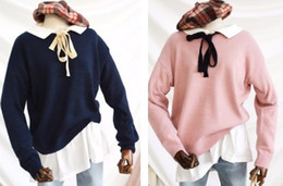 Wholesale Doll Hit - 2017 new autumn and winter little pink princess doll collar hit the color collar loose pullover department noose sweater(29)