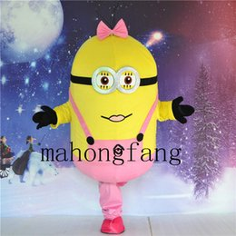Wholesale Mascot Costumes Minion - High quality pink base my minion slave mascot costume adult clothing Halloween Christmas party free shipping
