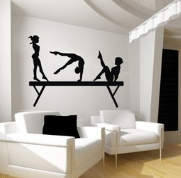 Wholesale Halloween Art For Kids - 92*122cm Gril wall sticker for bedroom 3girls on Gym Gymnastic physical exercises sports wall decals