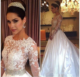 Wholesale Drop Waist Beaded Dress - Vintage Long Sleeves Lace Wedding Dresses Country 2018 Beading Beaded Waist Sheer Neck Bridal Gown Court Train Arabic Vestidos De Noiva