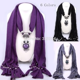 Wholesale Cotton Scarves Owl Pendants - Wholesale-Free shipping New Fashion High quality Metal + Cotton + gem owl pendant necklace,scarf necklace ,scarf Jewelry,Brand Design