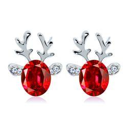 Wholesale Horn Earring Silver - Merry Christmas Crystal Reindeer Horn Stud Earrings Luxury Deerhorn charm Earrings Women Men Ear Bady Jewelry Festival Gift Wholesale